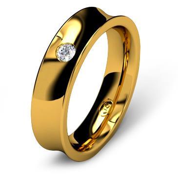 Кольцо обручальное с бриллиантом шириной 5 мм из желтого золота W855YD251