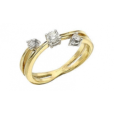 Кольцо с бриллиантами из желтого золота 102475