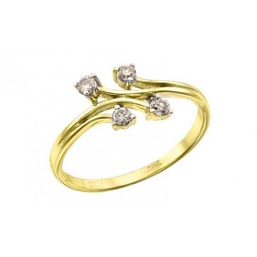Кольцо с бриллиантами из желтого золота 113095