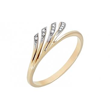 Кольцо с бриллиантами из желтого золота 72274