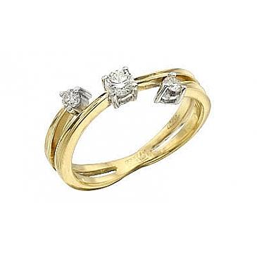 Кольцо с бриллиантами из желтого золота 97507
