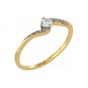 Кольцо с бриллиантами из желтого золота 77504