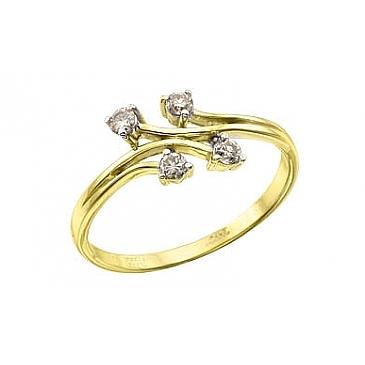 Кольцо с бриллиантами из желтого золота 96981