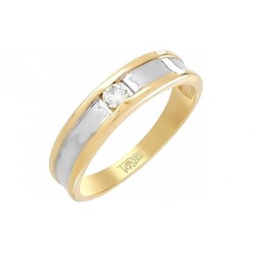Кольцо с бриллиантом 0,108 карата из желтого золота 103877
