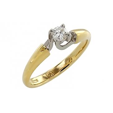 Кольцо с бриллиантом из желтого золота 105176