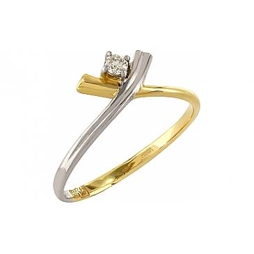 Кольцо с бриллиантом из желтого золота 81321 от EVORA