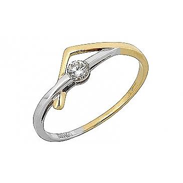 Кольцо с бриллиантом из желтого золота 107882