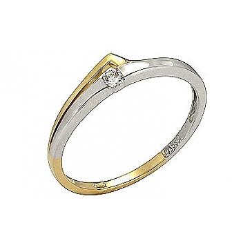 Кольцо с бриллиантом из желтого золота 107885