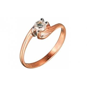 Кольцо с бриллиантом из желтого золота 77708