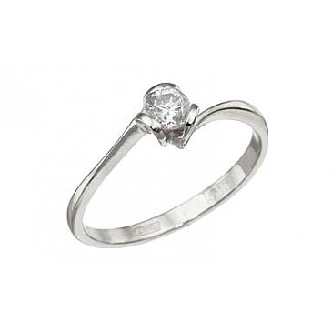 Кольцо с бриллиантом из желтого золота 113274