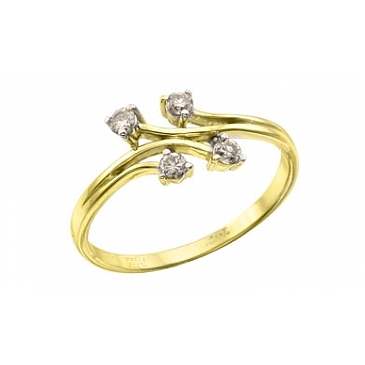 Кольцо с бриллиантом из желтого золота 113676