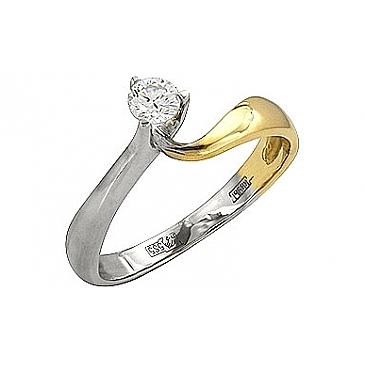 Кольцо с бриллиантом из желтого золота 41320