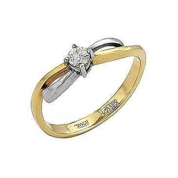 Кольцо с бриллиантом из желтого золота 33881
