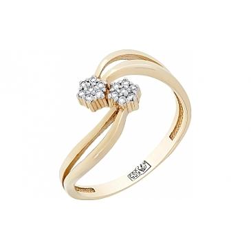 Кольцо с Бриллиантом из желтого золота 77628