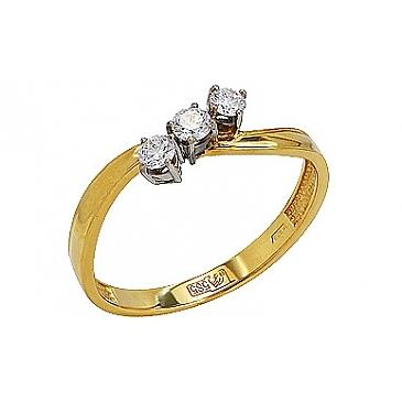 Кольцо с Бриллиантом из желтого золота 77598