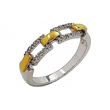 Кольцо с бриллиантом из желтого золота 76332