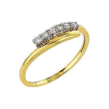 Кольцо с бриллиантом из желтого золота 96351