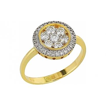 Кольцо с бриллиантом из желтого золота 96169