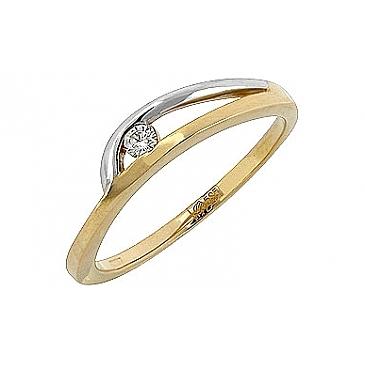 Кольцо с бриллиантом из желтого золота 98783