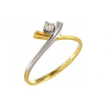 Кольцо с бриллиантом из желтого золота 102955