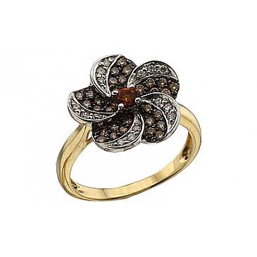 Кольцо с бриллиантом коньяк и цитрином из желтого золота 62773