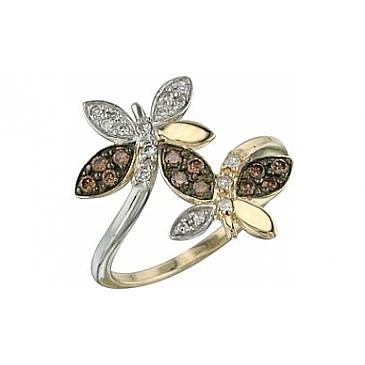Кольцо с бриллиантом коньяк из желтого золота 26598