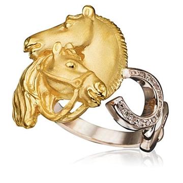 Кольцо с лошадьми 'СТЕПНАЯ СИМФОНИЯ' из желтого золота К-24035