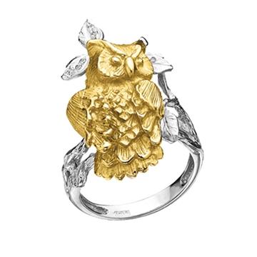Кольцо с совой КОРОЛЕВА НОЧИ с бриллиантами из желтого золота К-24029