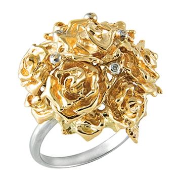 Кольцо ШАРМ из желтого золота К-14053