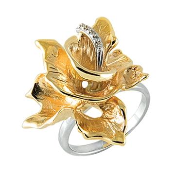 Кольцо ВИВАЛЬДИ из желтого золота К-14054