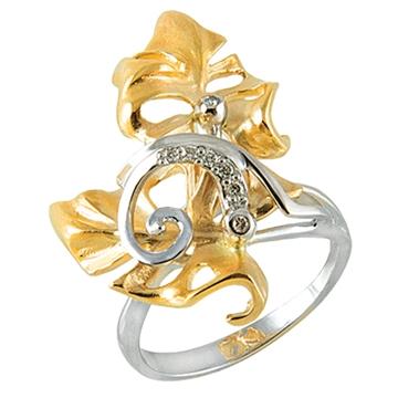 Кольцо ВИВЬЕН из желтого золота К-14055