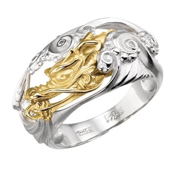 Кольцо 'ВОДЯНОЙ ДРАКОН' из желтого золота К-24049н