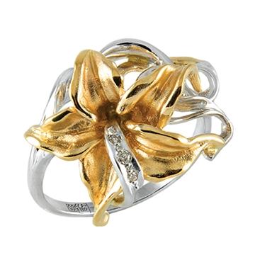 Кольцо 'ВОСТОЧНАЯ ЛИЛИЯ' из желтого золота К-14051