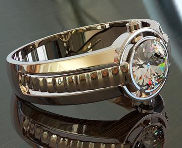 Мужские кольца П002 Бриллиант | Мужская печатка с