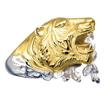 Мужское кольцо 'ТИГР' с бриллиантами из желтого золота К-24040