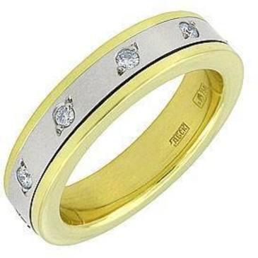 Обручальное кольцо c бриллиантами из желтого золота 1403237