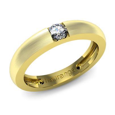 Обручальное кольцо с бриллиантами из желтого золота Ко-01-Б1-0004