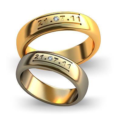 Обручальное кольцо с датой бракосочетания из желтого золота dg_ring_059