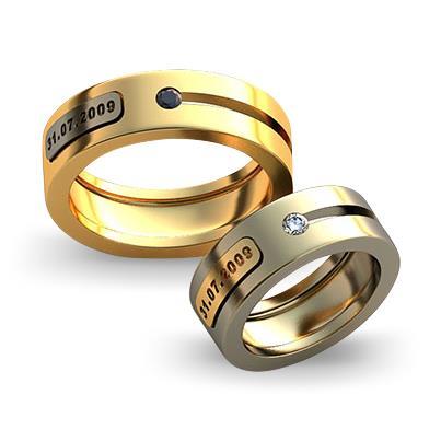 Обручальное кольцо с датой свадьбы из желтого золота dg_ring_014