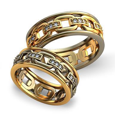 Обручальное кольцо Связанные цепью из желтого золота dg_ring_071