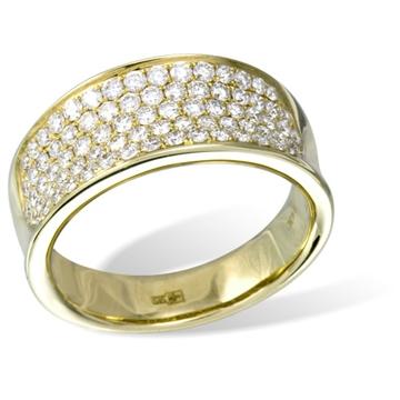 Широкое кольцо  с бриллиантами из желтого золота R14267YG от EVORA
