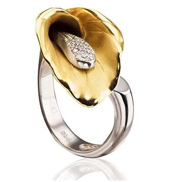 Золотое кольцо 'Кала' с бриллиантами из желтого золота К-14021