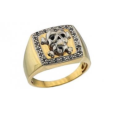 Кольцо с чёрными бриллиантами из желтого золота 63881