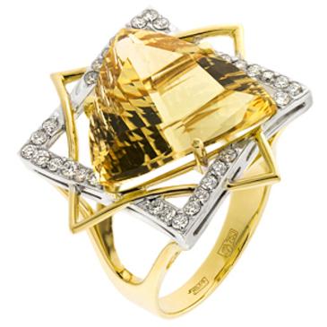 кольцо c цитрином из желтого золота 14933879 от EVORA
