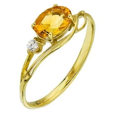 кольцо c цитрином из желтого золота 1792146 от EVORA
