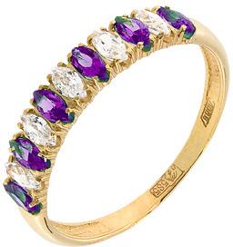 кольцо c аметистами и фианитами из желтого золота 17027282