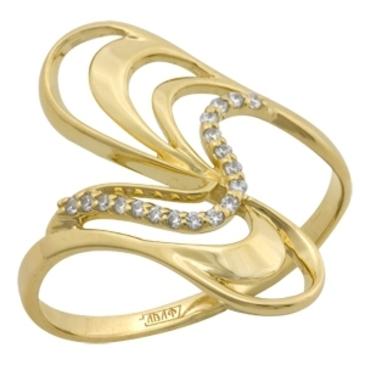 кольцо c фианитами из желтого золота 17023246