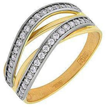 кольцо c фианитами из желтого золота 17025117