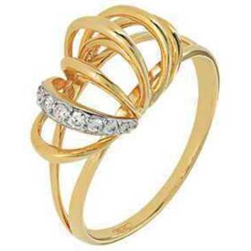 кольцо c фианитами из желтого золота 17028007