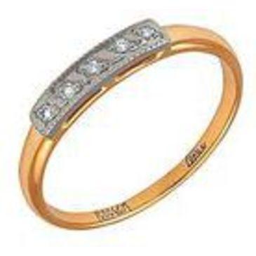 кольцо c фианитами из желтого золота 1702243
